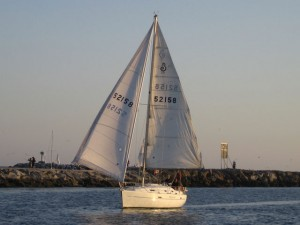 Admiralty Sailing has policies about sailing down the exit channel: Wing on Wing or just the main.