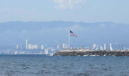 The American Flag on the Breakwater of Marina del Rey