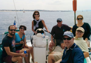 A great afternoon sail with our guest at the helm and her guests comfortable in the cockpit.